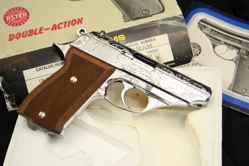 Factory Engraved Chrome Astra Constable (PPK) .380 Semi-Auto Pistol - IN BOX